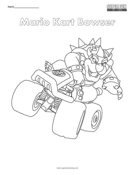 Mario Kart Bowser Nintendo Coloring Super Fun Coloring