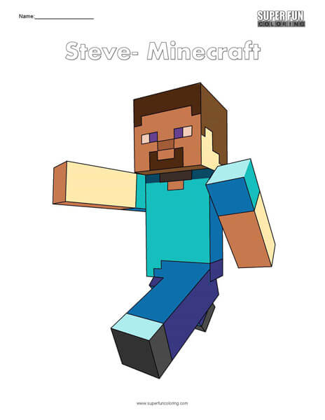 Steve- Minecraft Free Coloring