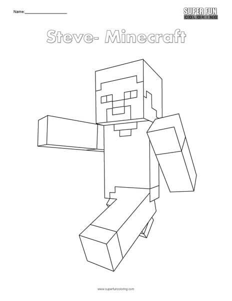 Steve- Minecraft top Coloring