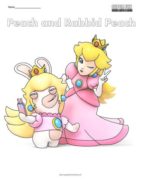Peach and Peach Rabbid- Nintendo Coloring