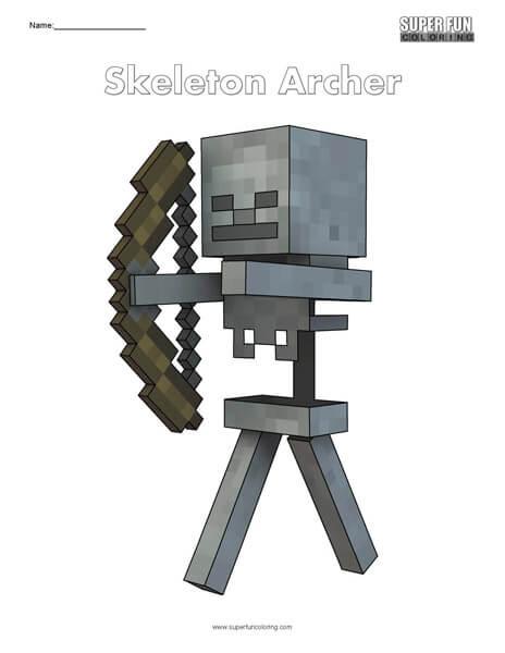 Skeleton Archer- Minecraft free coloring