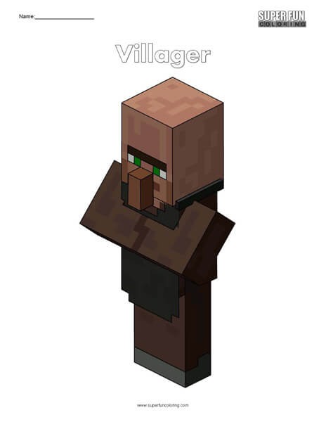 Villager- Minecraft Free Coloring