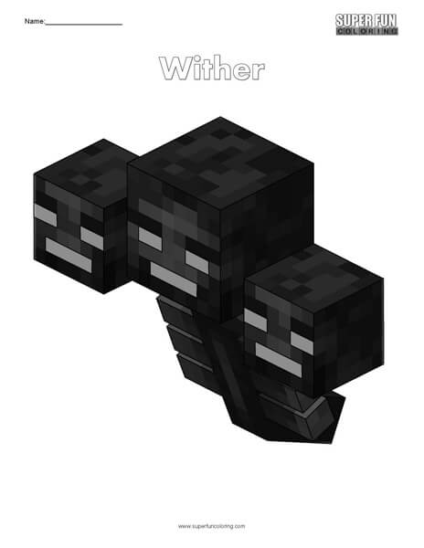Wither- Minecraft free coloring