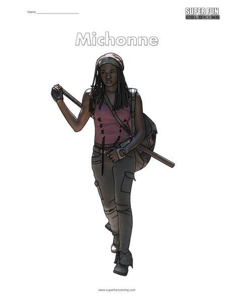 Michonne Walking Dead Coloring Page