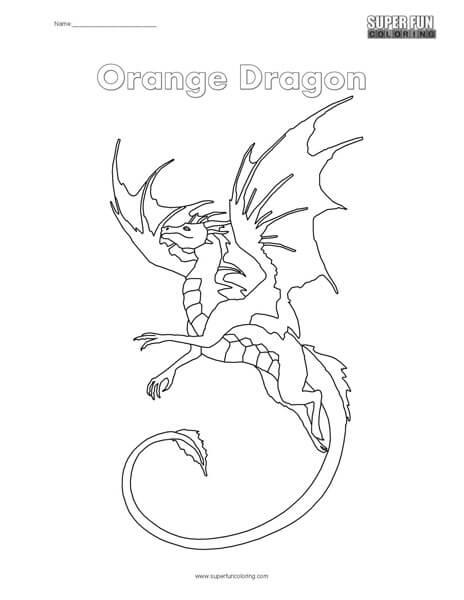 Orange Dragon Coloring Page