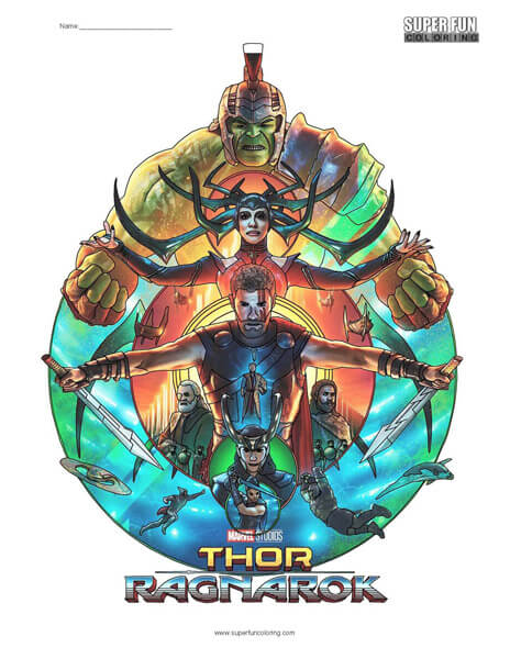 Thor Ragnarok Coloring Page