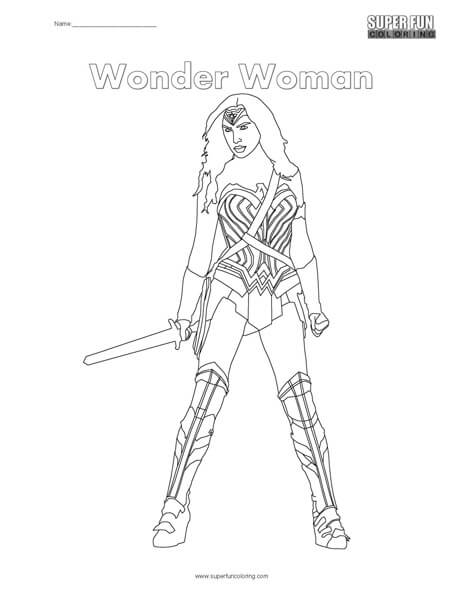 Wonder Woman Coloring Page Super Fun Coloring