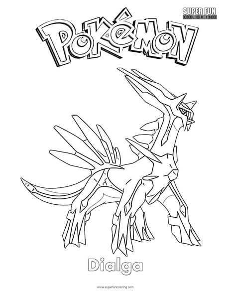 Pokemon Dialga Coloring Page Super Fun Coloring