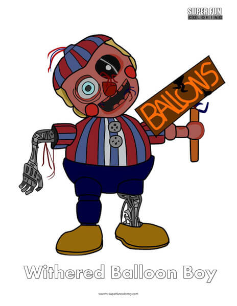 Withered Balloon Boy- FNAF Coloring Sheet Five Nights at Freddy's