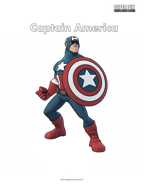 Captain America Superhero Coloring Page