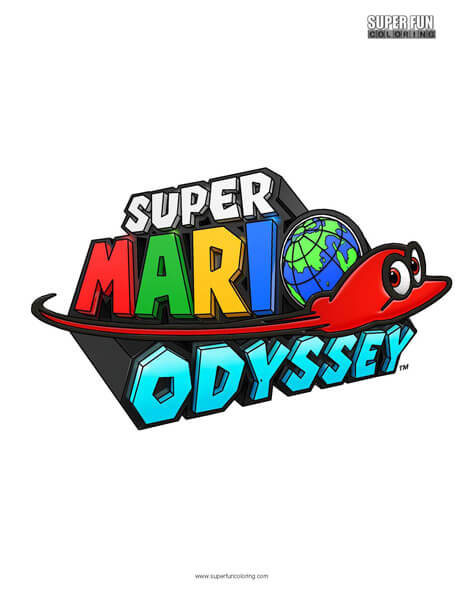 Super Mario Odyssey Logo Nintendo Coloring Super Fun Coloring