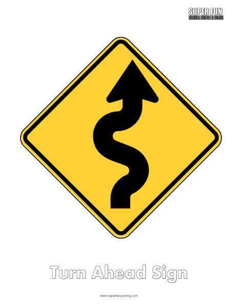 Turn Ahead Sign Coloring Page Free