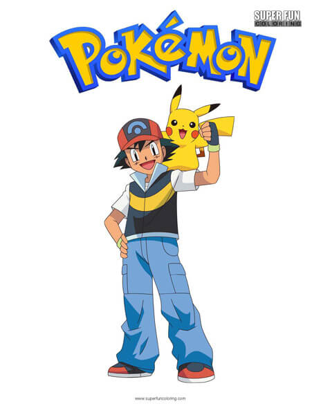 Pokemon - Ash Coloring Page 01 | Coloring Page Central | 600x464