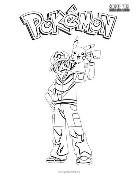 Ash and Pikachu Pokemon Coloring Page