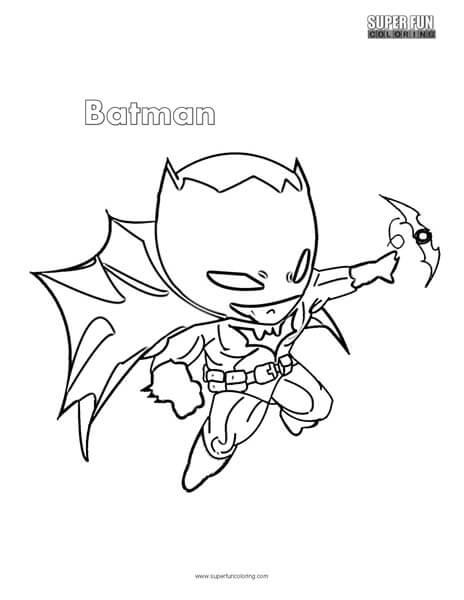 Cute Batman Superhero Coloring Page