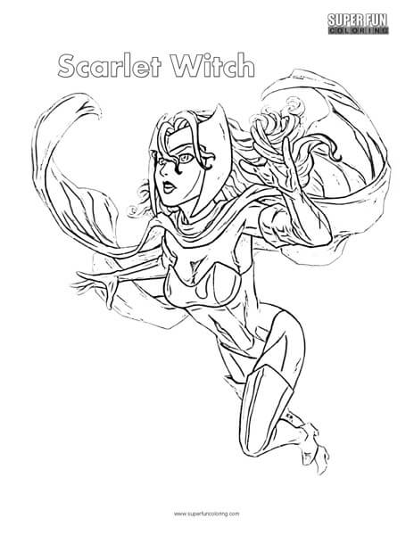 Scarlet Witch Superhero Coloring Page