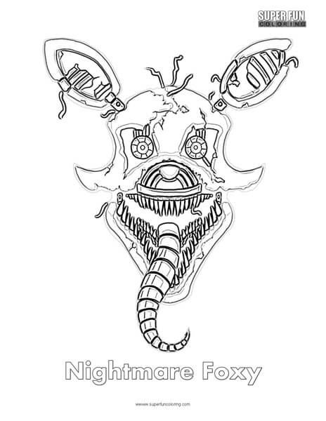 Nightmare Foxy Coloring Page FNAF Sheets