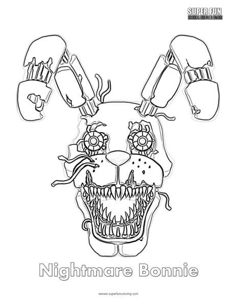 Nightmare Bonnie Coloring Page FNAF Sheets
