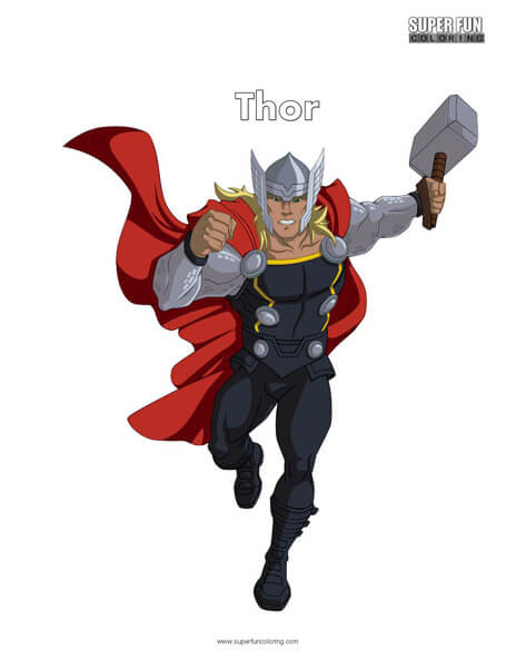 Thor Free Superhero Coloring Page