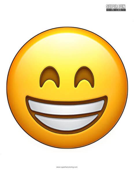 Grinning Smile Emoji Coloring Sheet Top Free