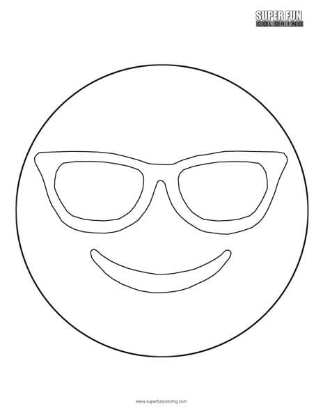 Sunglasses Emoji Coloring Sheet Top Free