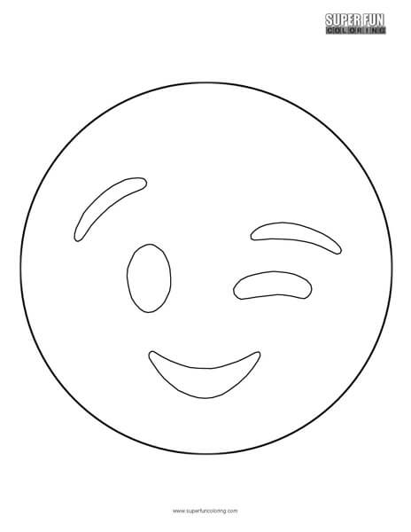 Wink Emoji Coloring Sheet Top Free