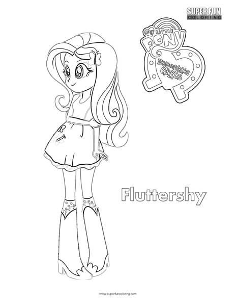 Fluttershy Equestria Girls Coloring Sheet Super Fun Coloring
