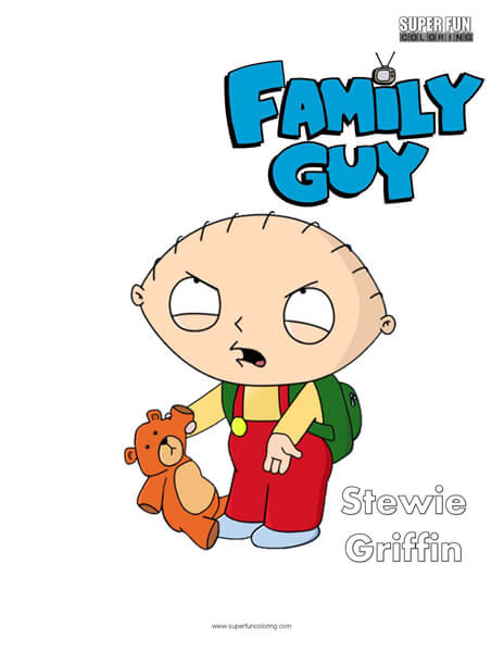 Stewie Griffin Family Guy Coloring Sheet