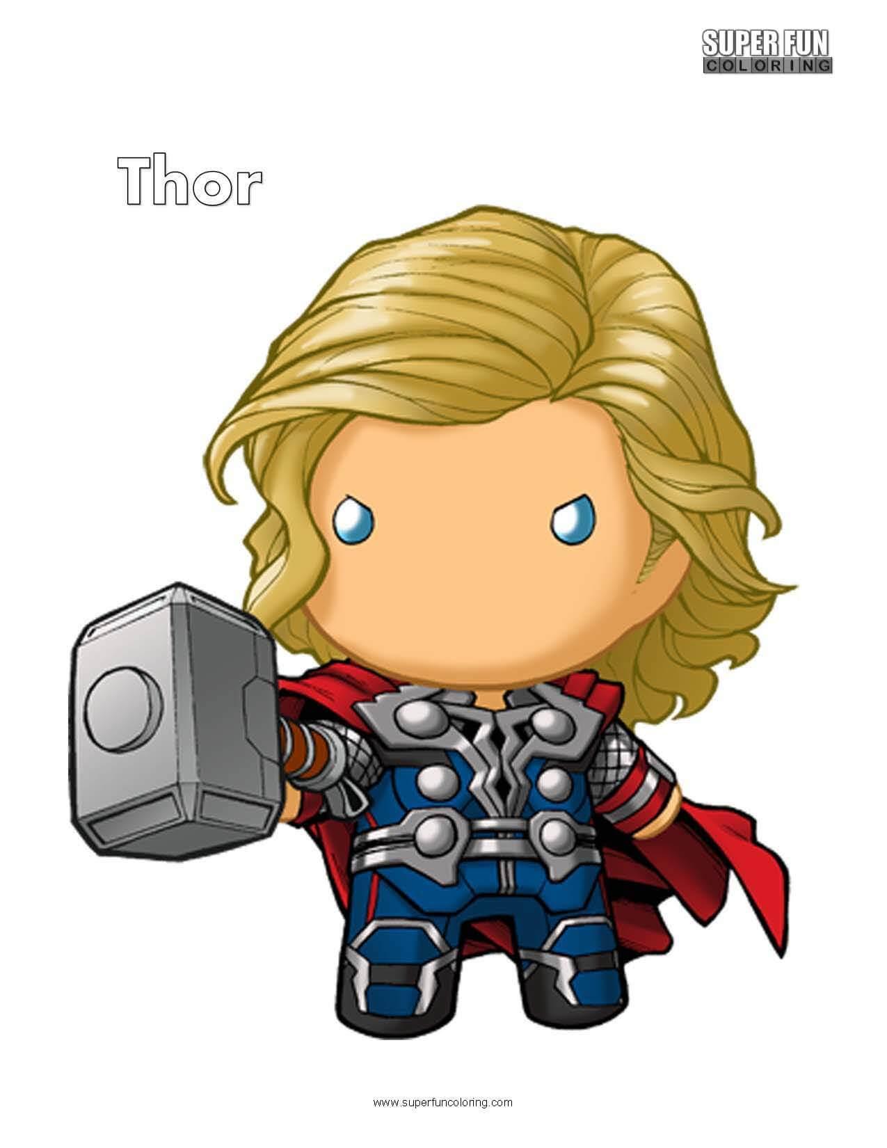 Cute Thor Free Superhero Coloring Page
