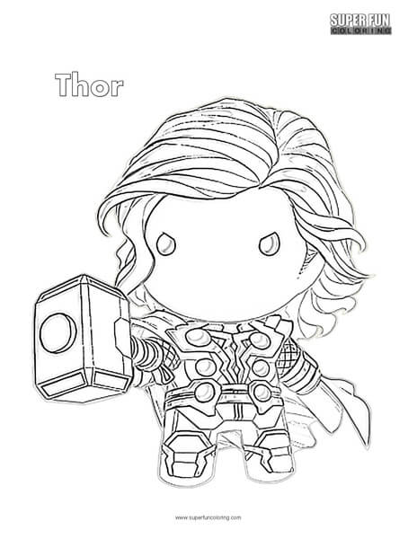 Cute Thor Superhero Coloring Page
