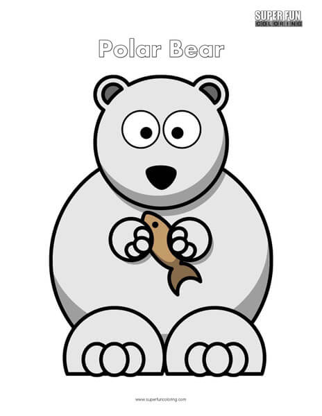 Cartoon Polar Bear Coloring Page Free