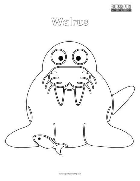 Cartoon Walrus Coloring Page