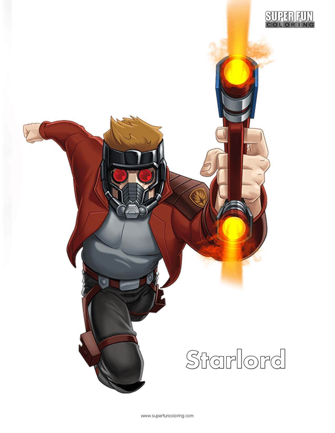 Starlord Free Superhero Coloring Page