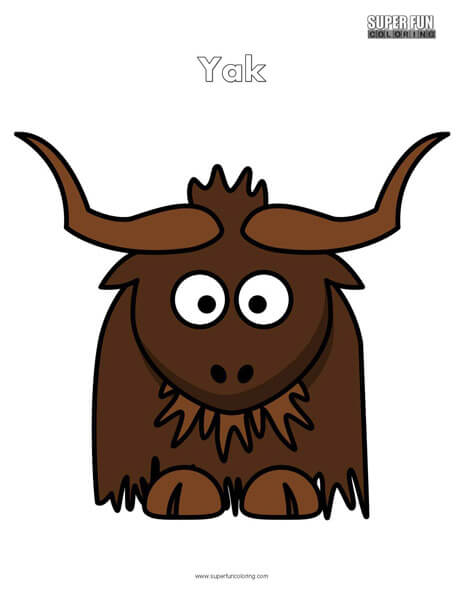 Cartoon Yak Coloring Page Free