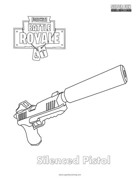 Silenced Pistol Fortnite Coloring Page