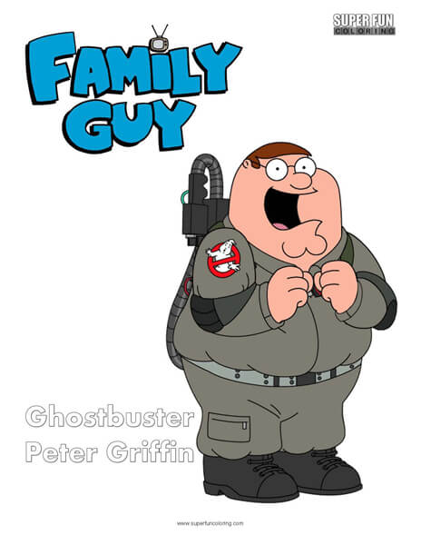 Ghostbusters Peter Family Guy Coloring Sheet
