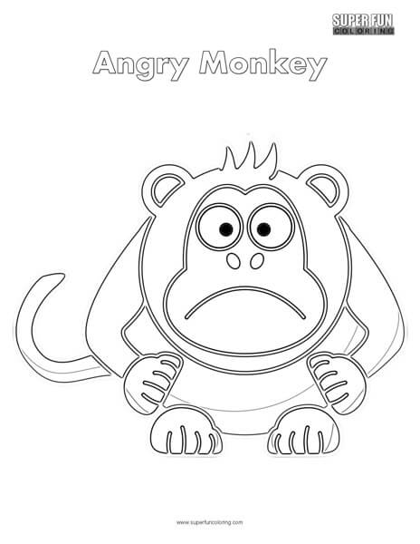 Cartoon Angry Monkey Coloring Page
