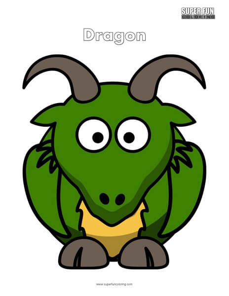 Cartoon Dragon Coloring Page Free