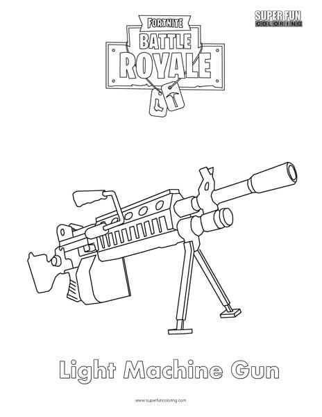 Light Machine Gun Fortnite Coloring Page