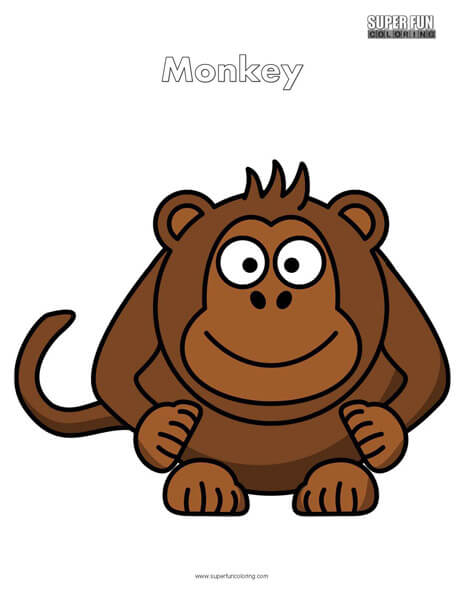 Cartoon Monkey Coloring Page Free