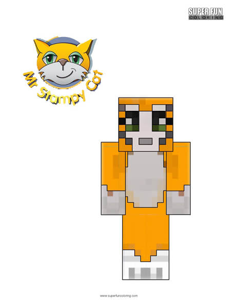 Stampylonghead Mr. Stampy Cat Coloring Page