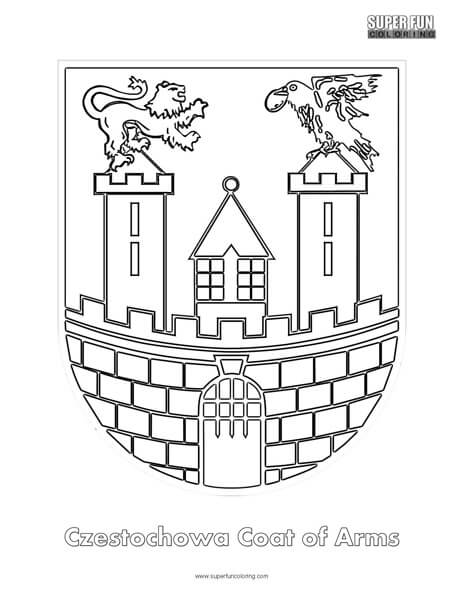 Czestochowa Coat of Arms Coloring Page
