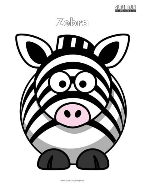 Cartoon Zebra Coloring Page Free