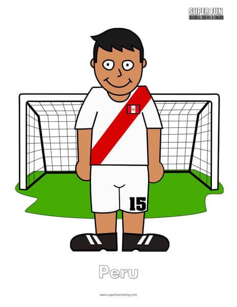 Peru Cartoon Football Coloring Page