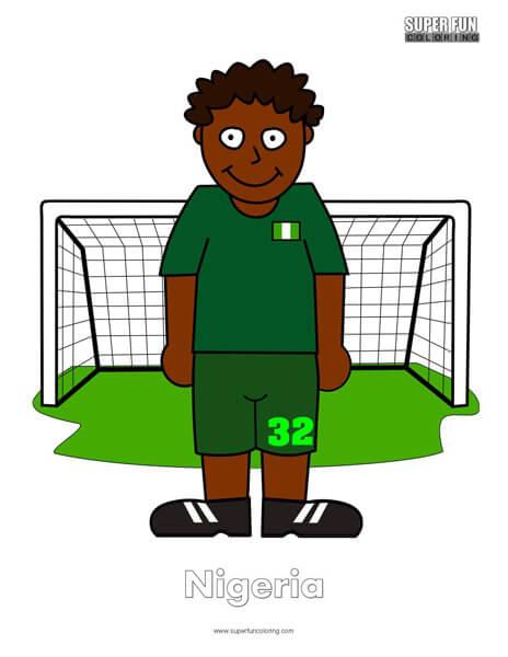Nigeria Cartoon Football Coloring Page