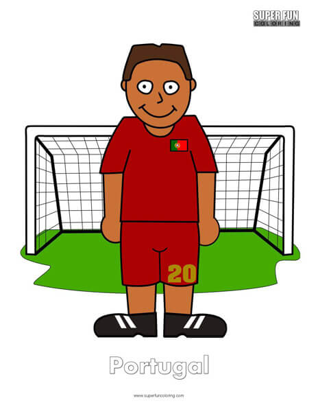 Portugal Cartoon Football Coloring Page