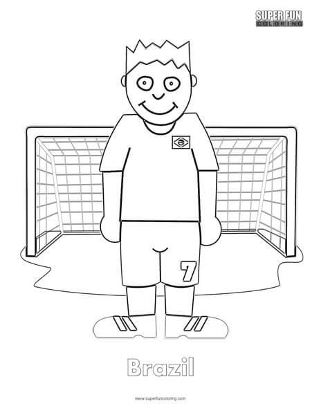 Brazil Cartoon Football Coloring page