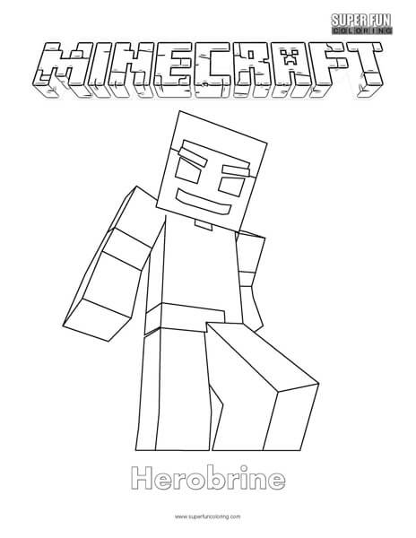 Minecraft Herobrine Coloring Page - Super Fun Coloring