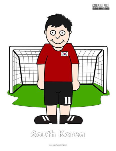South Korea Cartoon Football Coloring Page