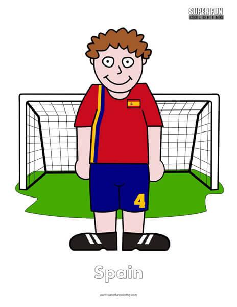 Spain Cartoon Football Coloring Page